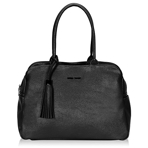 Hynes Victory Large Tote Bag Simple Shoulder Bag for Woman Tassel Handbag (Zip Shoulder Satchel)