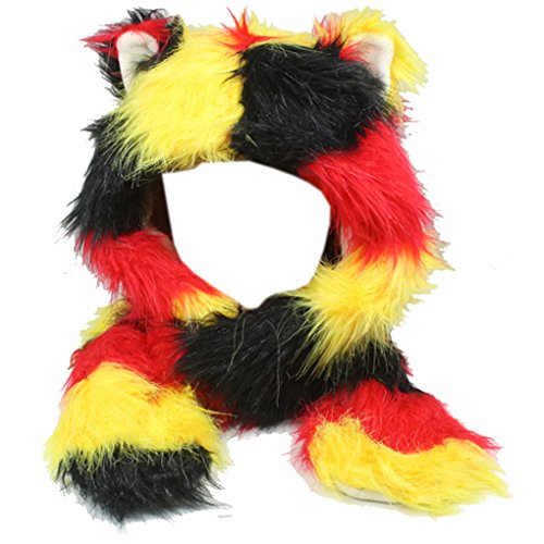 Silver Fever Plush Soft Animal Beanie Hat with Built-in Earmuffs, Scarf, Gloves (Fluffy Red Yellow Bear)