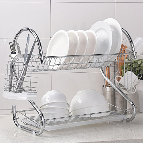 Wtape Modern Steel Rust Proof Kitchen In Sink Two Tier Dish Drying Rack, Dish - Two Rack Tier Dish