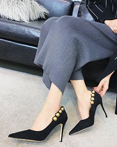 37 moda luce seguita tacco il 37 Court selvatici Ajunr alta Elegante di Punta ad Comfort nero multa solo Party scarpe alla 9cm scarpe vFxB0w