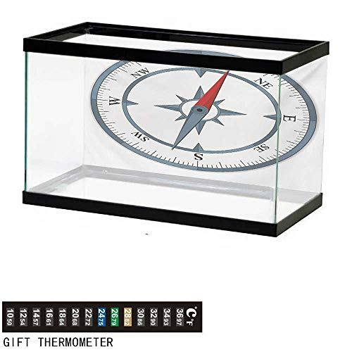 wwwhsl Aquarium Background,Compass,Minimalist Design Compass with Windrose Finding Your Way on The Sea Navigation,Slate Blue Red Fish Tank Backdrop 36