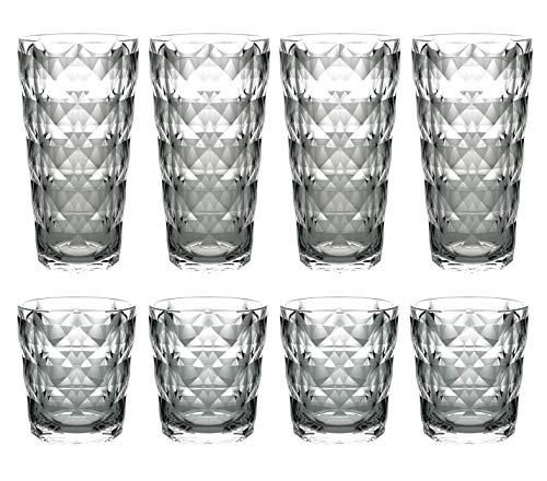 QG 13 & 22 fl oz. Diamond Cut Pattern Clear Smoke Grey Acrylic Plastic Tumbler Set of 8 (Diamond Smoke)