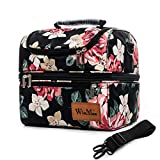 Lunch Bags for Women/Men Lunch Boxes Insulated Lunch Bag with Shoulder Strap Double Decker/Dual Compartment Waterproof/Reusable/Lightweight/Gift
