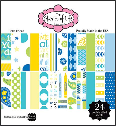 Hello Friend Design Patterned Paper Pad for Card-Making and Scrapbooking by The Stamps of Life - 24 Sheets 6