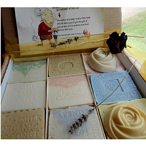 Twelve Handmade Soap Gift Set for Mom and Baby Variety Artisan Handmade Soaps by Natural Handcrafted Soap Company