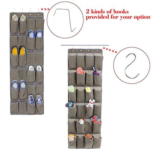 Songmics 24 pocket over the door shoe organizer hanging for 12 pocket over the door shoe organizer