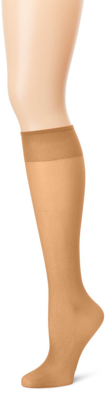 Grandeur Hosiery Women's Ladies Plus Size Queen Sheer Support Knee High Stockings 3-Pack Suntan 1X