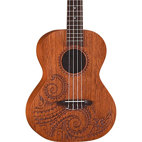 Luna Tattoo Mahogany Tenor Ukulele with Gig Bag, Satin Natural