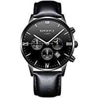 Black Wrist Watches for Men - VOEONS Men's Analog Quartz Chronograph Casual Leather Watch