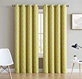 yellow insulated grommet curtains - HLC.ME Lattice Print Thermal Insulated Room Darkening Blackout Curtains for Bedroom - Bright Yellow - 52
