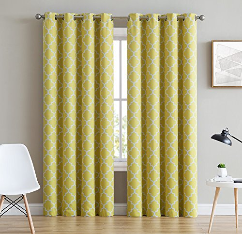 HLC.ME Lattice Print Thermal Insulated Blackout Curtains for Living Room - Bright Yellow - 52