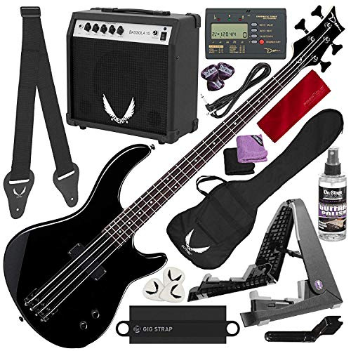 Dean Edge 09 Bass and Amp Pack - Black Dean Edge 09 Bass Guitar, Bass Amp, Gig Bag, Tuner, Cord, Strap, Picks + Guitar Stand Deluxe Accessory -