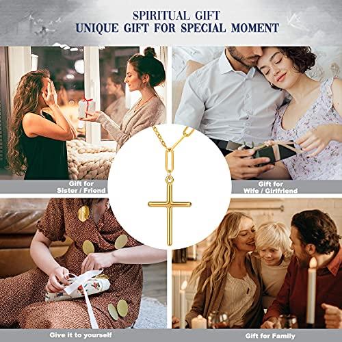 Pinsparkle Cross Necklaces For Women Men Paper Clip Cross Necklace Dainty Necklace 14K Gold Plated Cross Chain