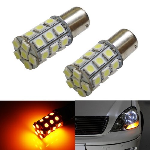 iJDMTOY (2) 360° 27-SMD-5050 1157 2357 7528 LED Bulbs For Turn Signal Lights, Daytime Running Lights, Driving Lights, Amber Yellow