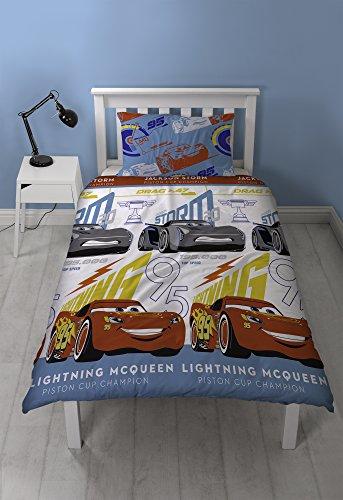 Cars 2 Piece Bath - Disney Cars 3 Lightning 2 Piece UK Single/US Twin Sheet Set 1 x Double Sided Sheet and 1 x Pillowcase  Rotary Design