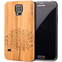 Samsung Galaxy S5 Case - Wood - Real Natural Bamboo Wooden Backplate With Unique Tree Design and Shock Absorbing Polycarbonate Protective Bumper