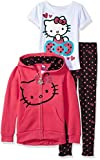 Girls Clothing Best Deals - Hello Kitty Girls' Little Girls' 3 Piece Zip up Hoodie Legging Set with T-Shirt Shirt and Printed Leggings, Fuchsia/Purple, 5