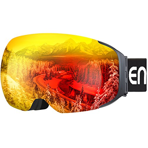 Enkeeo Ski Goggles Detachable Dual Layer Anti-Fog Lens 100% UV400 Protection, Bendable Frame, Anti-slip Strap with Comfort, Wind Resistant 3 Layers Foam for Adult Snowboarding Skating, Magnet Red
