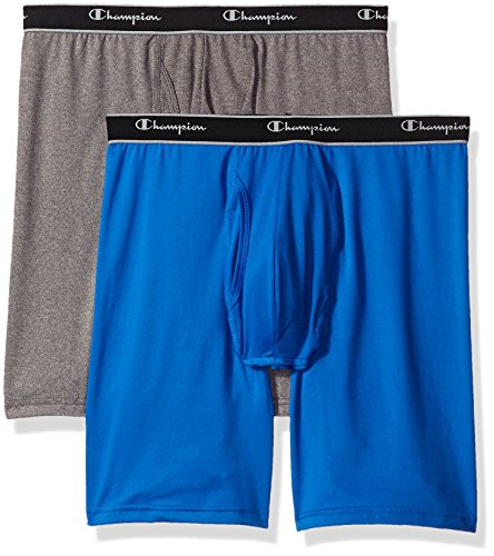 Champion Men's 2-Pack Tech Performance Longer Leg Boxer Brief, Blue/Grey Heather, Large