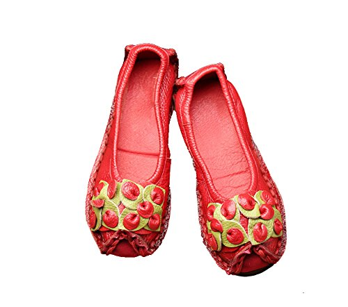 Verocara Womens New Leather Traditionele Nationale Kenmerken Flower Flat Casual Schoenen Rijden Loafers Rood