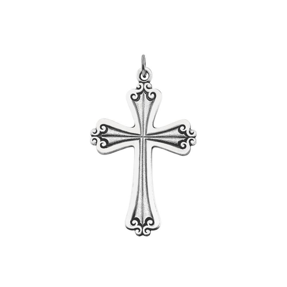 Sterling Silver 45x31mm Cross Pendant