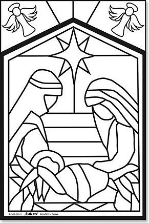 Amazon.com: Arts & Craft Nativity Color Your Own Stained Glass ...