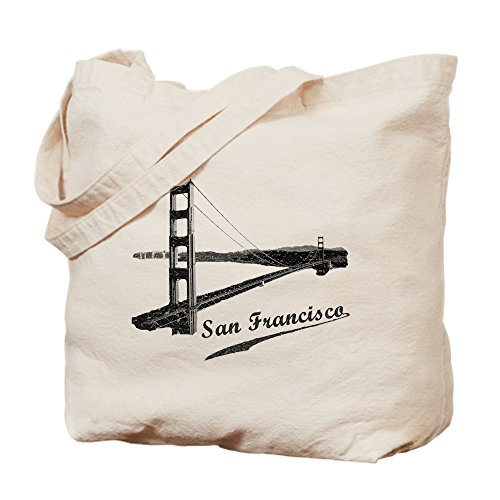 CafePress Vintage San Francisco Reusable Natural Canvas Tote Bag, Cloth Shopping Bag
