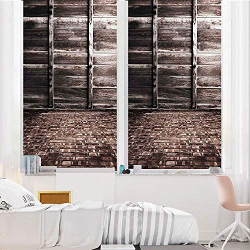 """Rustic Home Decor 3D No Glue Static Decorative Privacy Window Films, Aged Cracked Striped Oak Boarded Plank Wall Back and Dated Brick Floor Picture,24""""x36"""",for Home & Office Decor,Brown"""