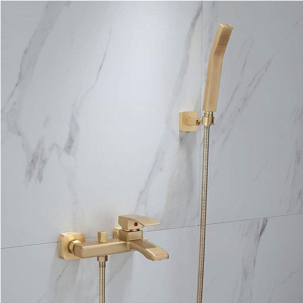 ba/ño Ba/ño fr/ío y caliente y grifos monomando de ducha Lat/ón,A Conjunto de ducha de ba/ñera Grifo de ba/ñera de oro cepillado montado en la pared