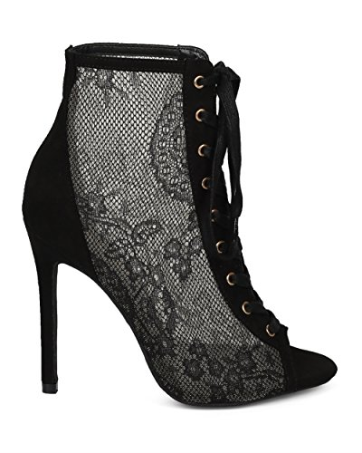 Alrisco Women Stiletto Corset Bootie - Lace Panel Stiletto Bootie - Mesh Panel Ankle Boot - HC86 by Liliana Collection Black Mix Media xG6hT8H