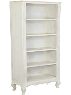 Homescapes Vintage Bookcase With Cabriole Legs New Orleans French Shabby Chic Style Solid Acacia