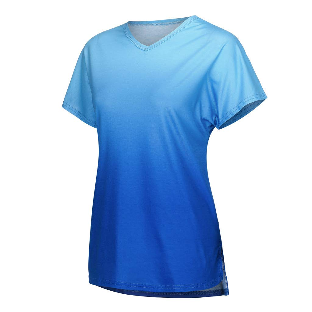 TnaIolral Women Tops Short Sleeve V-Neck Gradient Colour Loose Tee T-Shirt