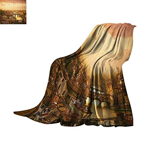 Lightweight Blanket Wanderlust Decor Collection,Bridge Ponte Vecchio Italy Bird Eye Sunset View Castle Houses Historic Cityscape,Ivory Peach Print Summer Quilt Comforter Bed or Couch 62