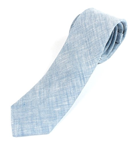 Cotton Linen Tie (Men's Cotton Linen Skinny Necktie Tie Sand Wash Solor Color Pattern - Blue)