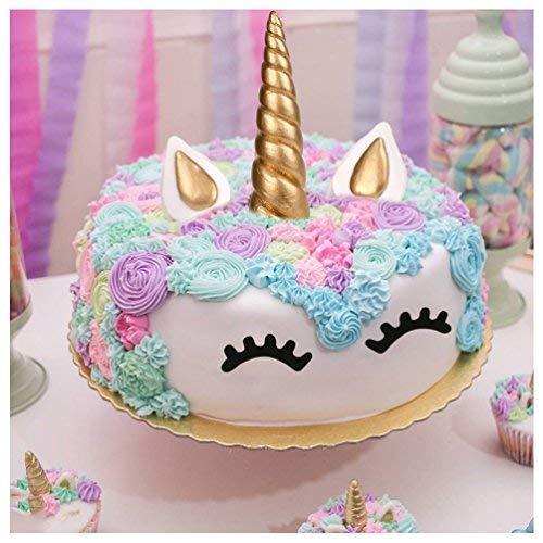 Decoración de unicornio para tartas de cumpleañosJuego decorativo que incluye cuerno, orejas y pestañas de unicornio.Decoración de unicornio para ...