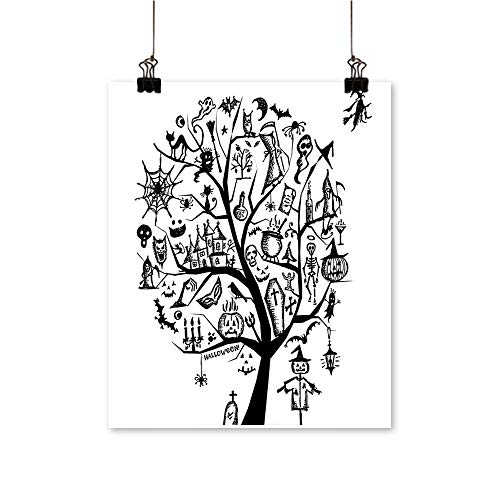 Modern Painting Sketch Style Halloween Tree Objects and Wicked Witch B Black White Bedroom Office Wall Art Home,28