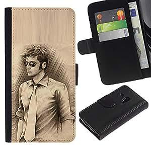 """Samsung Galaxy S3 MINI / i8190 (Not For Galaxy S3) , la tarjeta de Crédito Slots PU Funda de cuero Monedero caso cubierta de piel ("""" Man Tie Sunglasses Pencil Drawing Art Style"""")"""