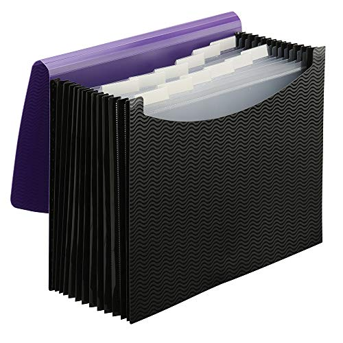 (Smead Poly Expanding File Folder, 12 Pockets, 12 Customizable Tiered Tabs, Flap and Cord Closure, Letter Size, Wave Pattern Purple/Black)