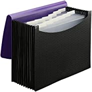 Smead Poly Expanding File Folder, 12 Pockets, 12 Customizable Tiered Tabs, Flap and Cord Closure, Letter Size,