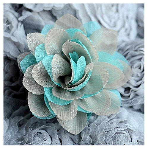 Silk Chiffon Rosette - 4 pcs Chiffon Silk Rose Flower Rosette Teal Blue Beige Bridal Wedding Baby Hair Bow Headband Clip FREE Combine Shipping SF062