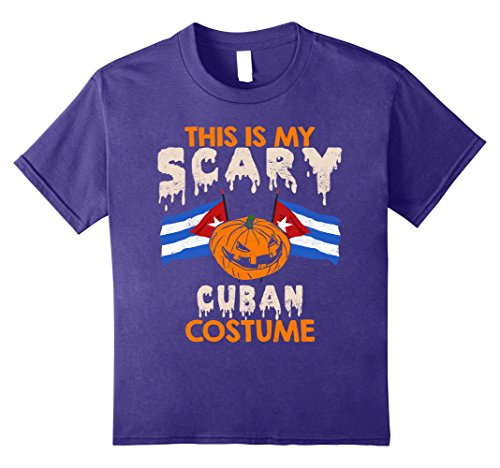 Cuba Costume (Kids This Is My Scary Cuban Costume Halloween T-shirts 10 Purple)