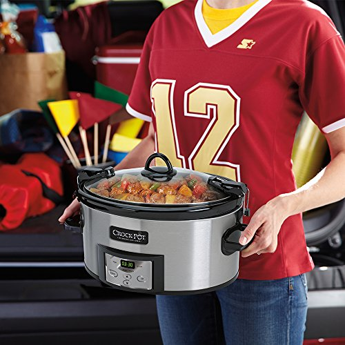 Crock-Pot SCCPVL610-S 6-Quart Programmable Cook and Carry Oval Slow Cooker, Digital Timer, Stainless Steel