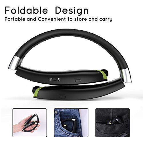 [Newest Design] Foldable Bluetooth Headset, Senbowe™ Upgrade Wireless Neckband Bluetooth Headset with Retractable Earbud and Foldable Design for iPhone, Android, Other Bluetooth Enabled Devices
