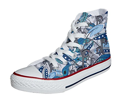 Converse All Star Hi chaussures coutume mixte adulte (produit artisanal) Horse Feathers