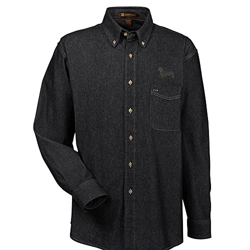 Dachshund Black Denim Shirt - YourBreed Clothing Company Dachshund Black Embroidered Men's 100% Cotton Denim Shirt