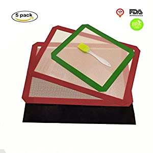 Silicone Baking Mat Set of 5 Non Stick 3 Silicone Baking Mats and 1 BBQ Grill Mat and 1 Basting Brush Professional Grade Non Stick baking sheet for Bake Pans & Rolling Silicone Pastry Mat