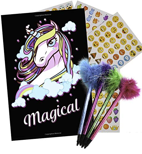 Journal Set for Girls Bundle with Feather Pens, Emoji Stickers, and Unicorn ()