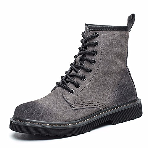 Suede Lase Scrub Combat Fashion Leather up Booties Ankle Boots Women's Martens Toe Gray Ladies Round Modemoven Boots wqpxaF