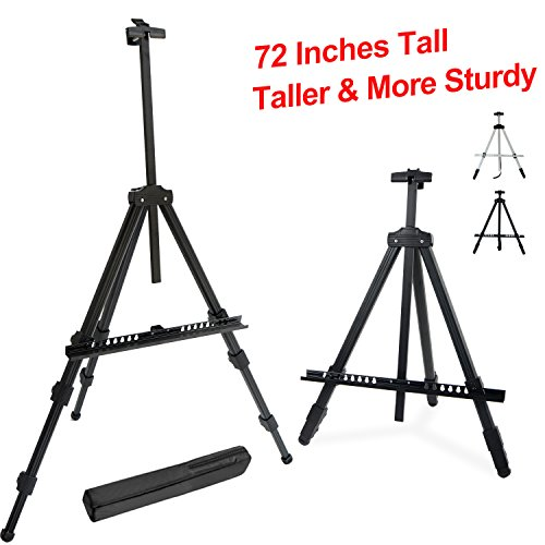 "T-Sign 72'' Tall Display Easel Stand, Aluminum Metal Tripod Art Easel Adjustable Height from 22 - 72"", Extra Sturdy for Table-Top/Floor Painting, Drawing and Display with Bag, Black"