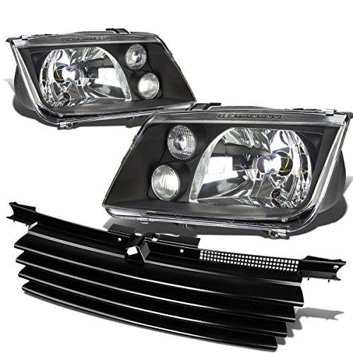 Volkswagen Jetta Pair of Black Housing Headlight+Black Front Grille (Mk4 Jetta Headlights Bulb compare prices)